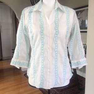 Talbots Petites Embroidered Button-Down Shirt (P)